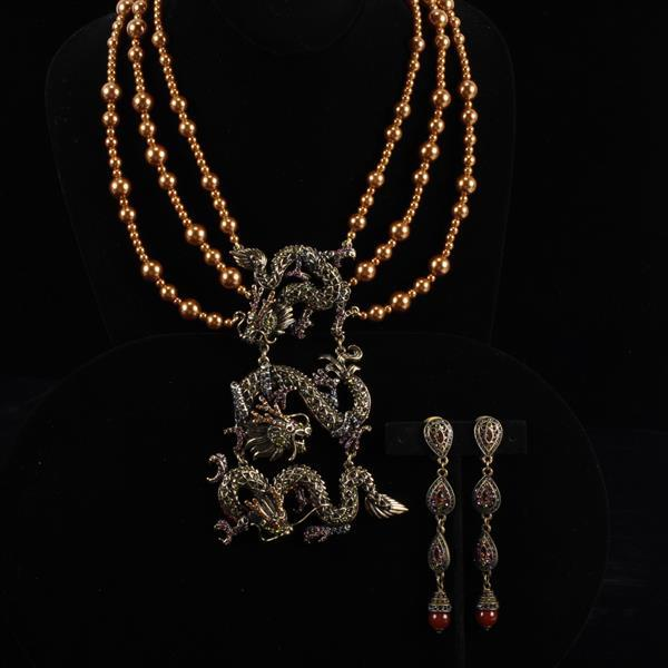 Heidi Daus 2pc. Dragon Necklace & Clip Earrings