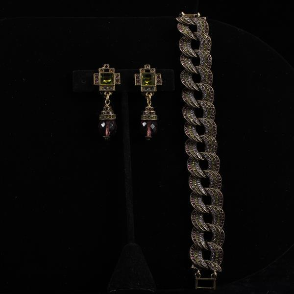 Heidi Daus 2pc. Bracelet & Clip Earrings