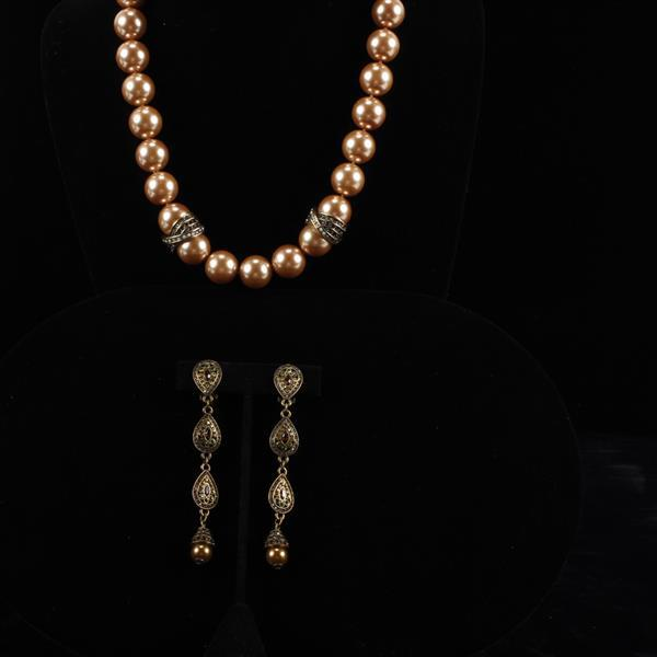 Heidi Daus 2pc. Faux Pearl Necklace & Clip Earrings