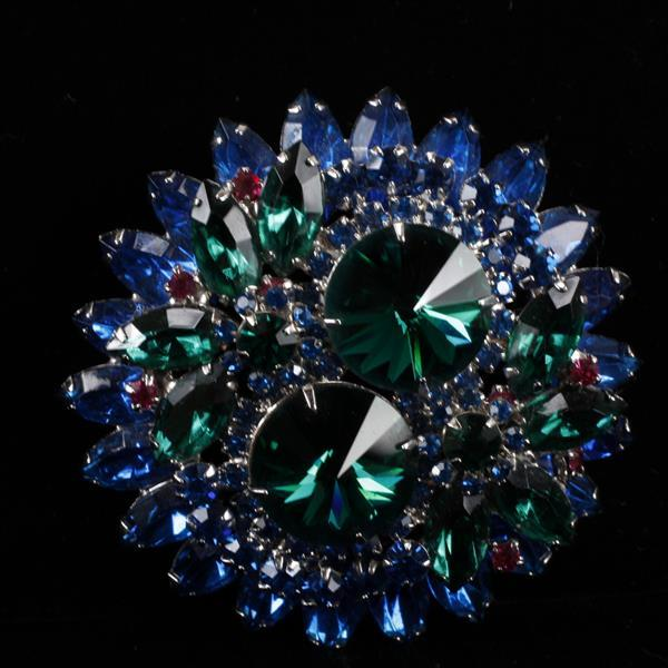 Juliana? Blue, Green, & Pink Jeweled Brooch Pin