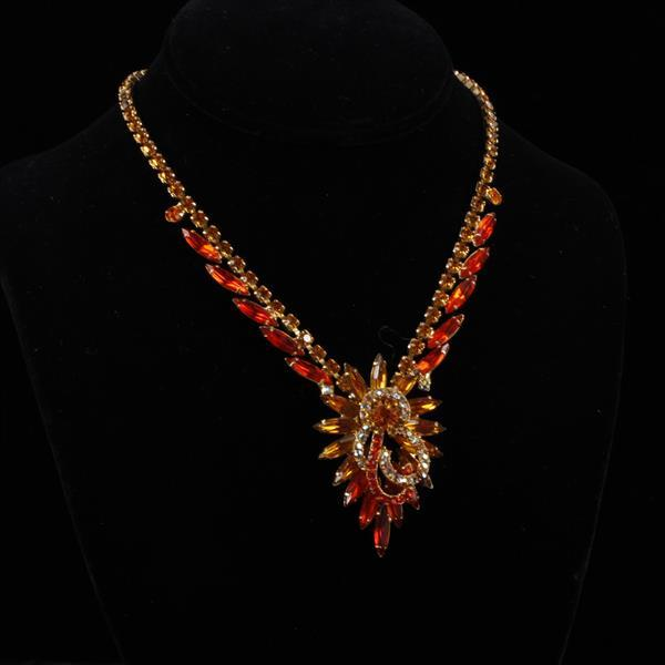 Juliana? Sunset Orange Crystal Necklace