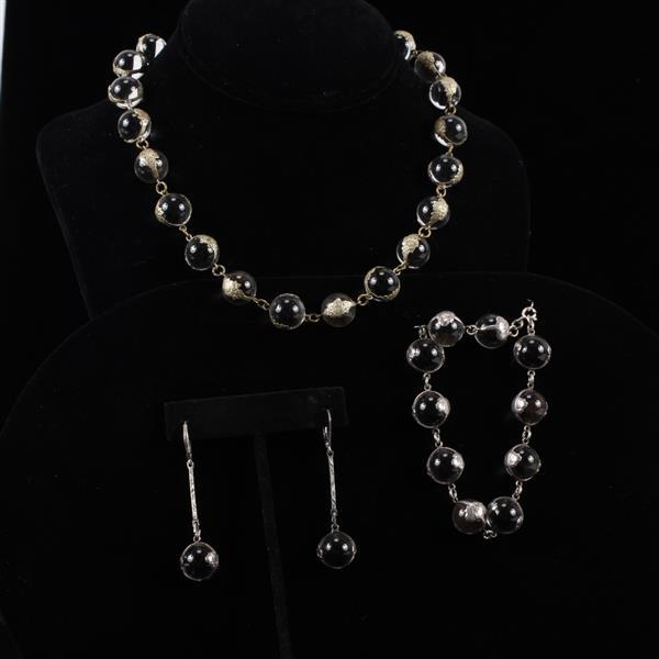 Sterling & Colorless Glass Beaded Designer Necklace, Bracelet, & Earrings