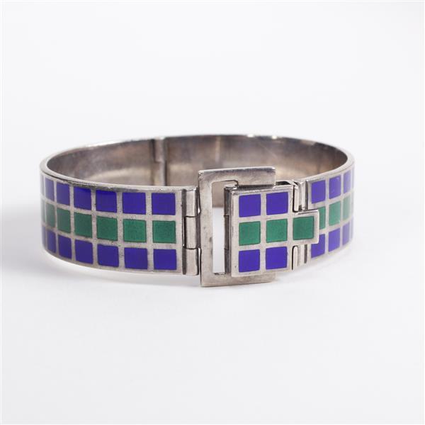 Vintage Revlon Designer 900 Silver enameled hinged belt buckle cuff bracelet.