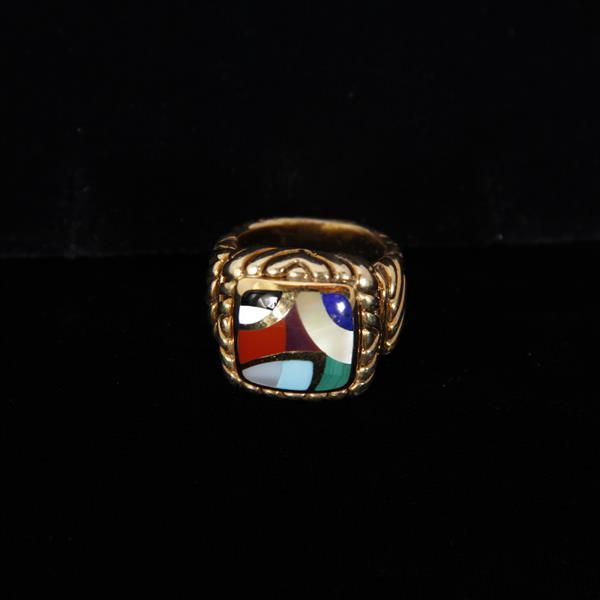 Asch Grossbardt Sterling 18k ring with various inlaid colored gemstones.