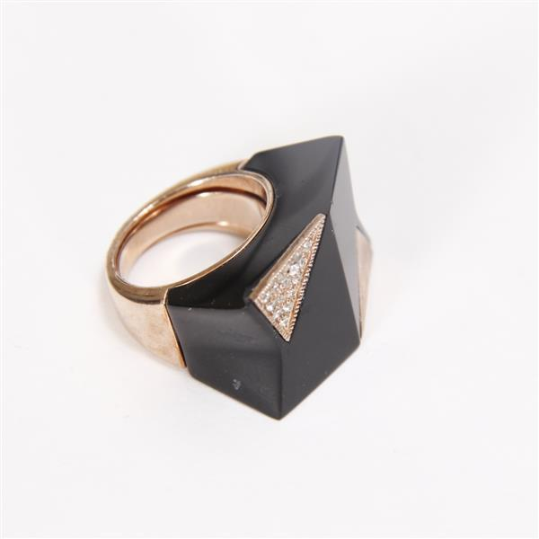 Modernist / Minimalist Sterling Vermeil Designer Ring with Carved Black Onyx & Crystal accents.