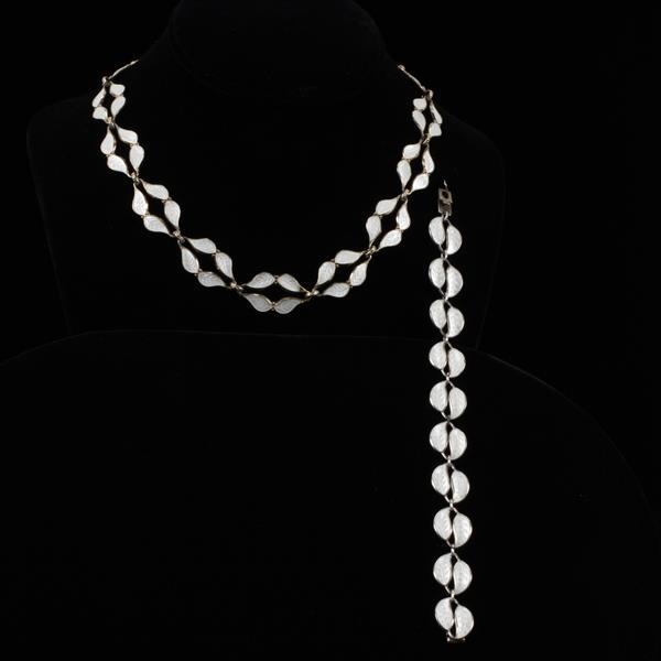 David Andersen Norway Sterling Silver Enameled Necklace & Bracelet