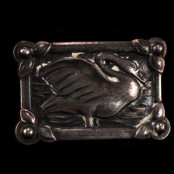 Georg Jensen Denmark Sterling Silver Swan Brooch