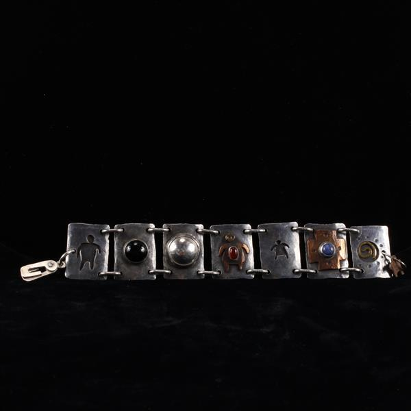 Sterling Silver Mixed Metal Modernist Handmade Link Bracelet with cabochons, signed.