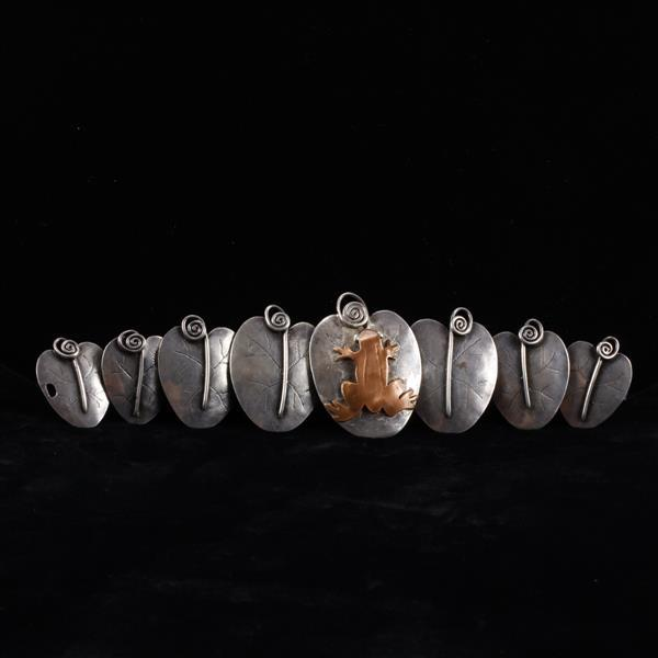 Sterling Silver Mixed Metal Handmade Modernist Lily Pad Link Bracelet with copper frog.