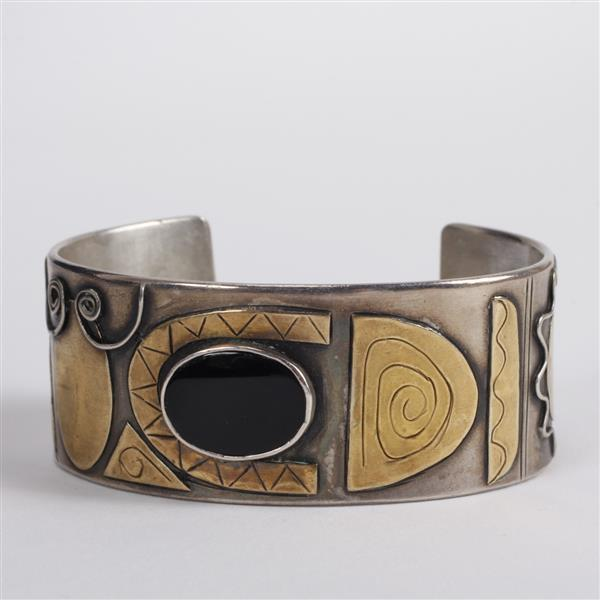 Sterling Silver Mixed Metal Modernist Cuff Bracelet with onyx stone.
