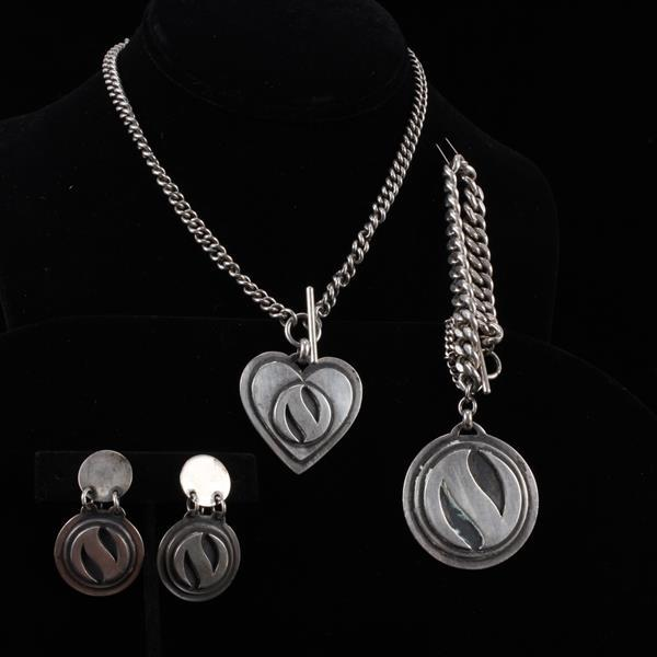 Cabin Craft Shop, Ephraim Wisconsin Sterling Silver Modernist Jewelry Set; necklace, bracelet, & clip earrings.