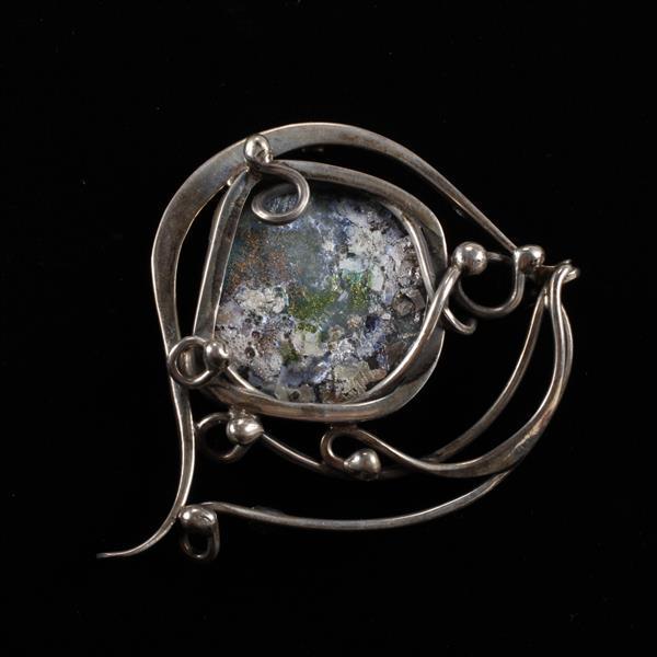 S. Zilka Israel Handmade Moderinist Freeform Sterling Silver & Enamel on Copper Brooch Pin.