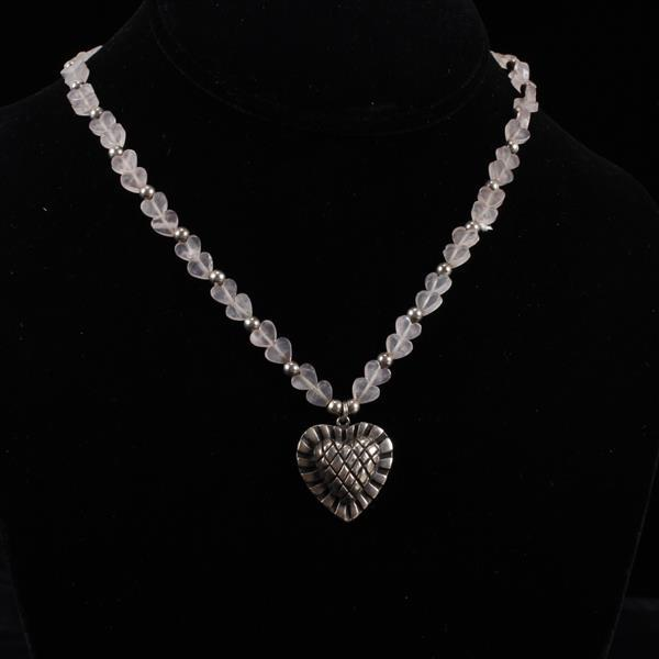 Carol Henry Sterling Silver Designer Heart Pendant on Rose Quartz beaded heart Necklace