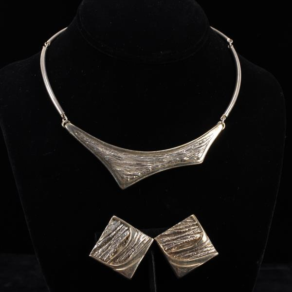 Nurit & Shoshanna Bar-On Israel Designers Sterling Silver Modernist Hollow Necklace & Clip Earrings