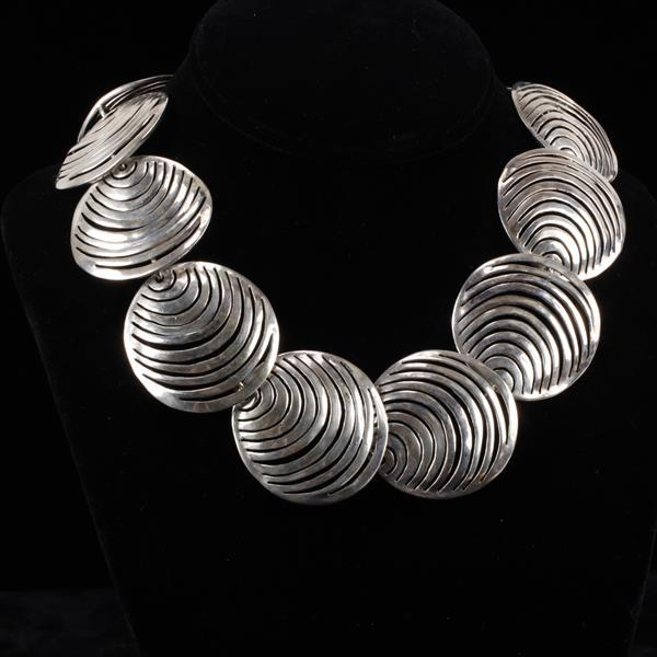 Sterling Silver Vintage Modernist Necklace with pierced circle links, unmarked.