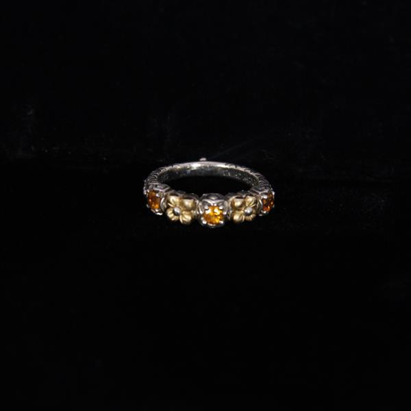 Barbara Bixby Designer Sterling Silver & 18K Gold and Citrine Floral Band Ring.