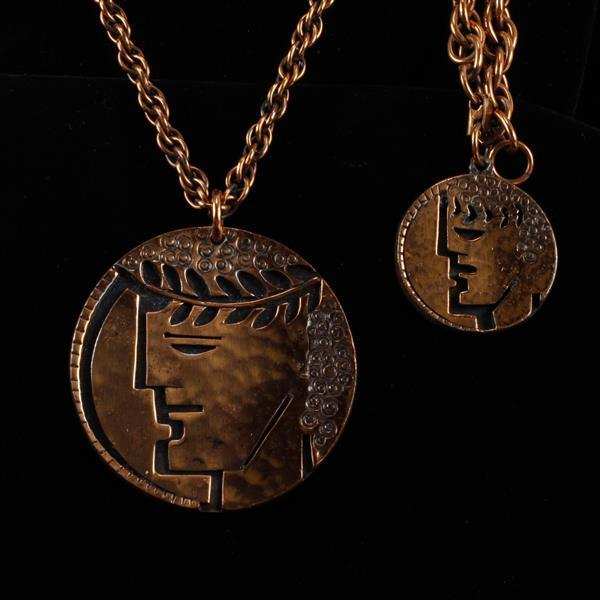 Francisco Rebajes 2pc. Copper Ceasar Head Medallion Necklace & Bracelet.