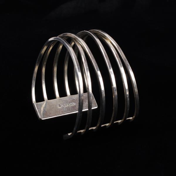 Mexico 925 Sterling cross wire Wide Cuff bracelet.