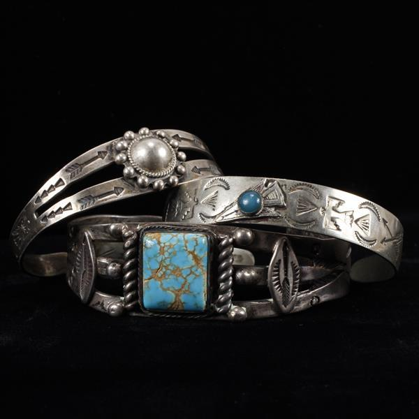 Three Native American Vintage Sterling Silver Cuff Bracelets; turquoise.