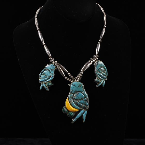 Sterling Turquoise & Malachite Bird Necklace by Small Bear Ponca.