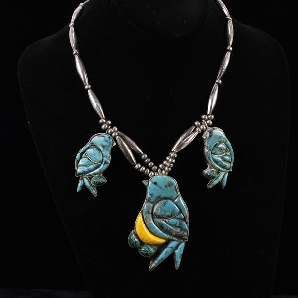Small bear ponca native american sterling silver turquoise for Silver jewelry repair indianapolis