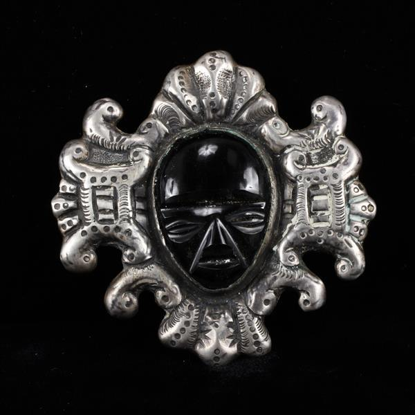 Casa Prieto Mexico 925 Sterling Silver hollow pin brooch with carved onyx mask.
