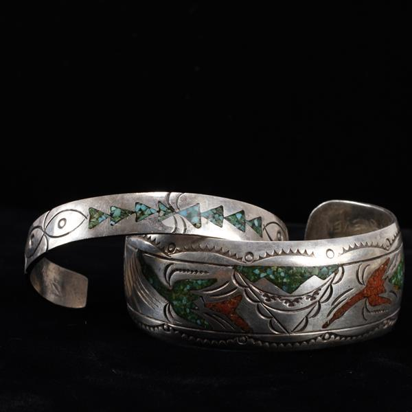 Two Native American Vintage Sterling Silver Turquoise Inlay Cuff Bracelets with impressed decoration, signed J. Nezzie on wider.