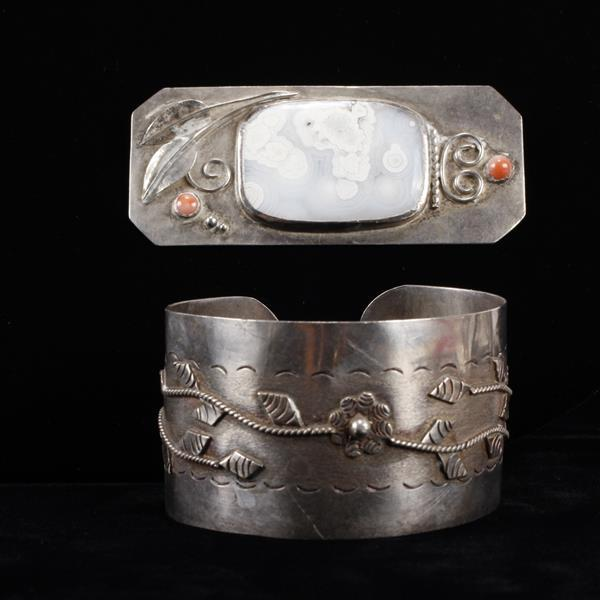 Native American Sterling Silver Cuff Bracelet and polished stone Brooch Pin with applied florals, signed.