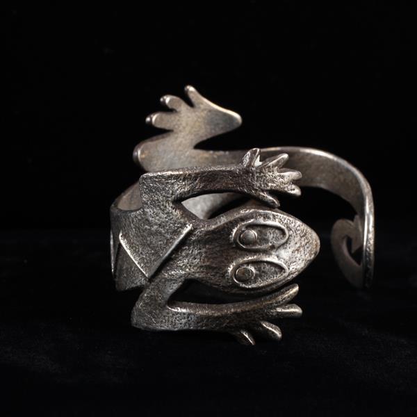 Troy Sorrell Sterling Silver Salamander Figural Lizard Wrap Cuff Bracelet