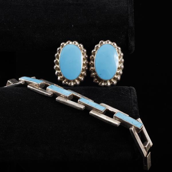 Taxco Mexico Sterling Silver and Sleeping Beauty Turquoise 2pc.