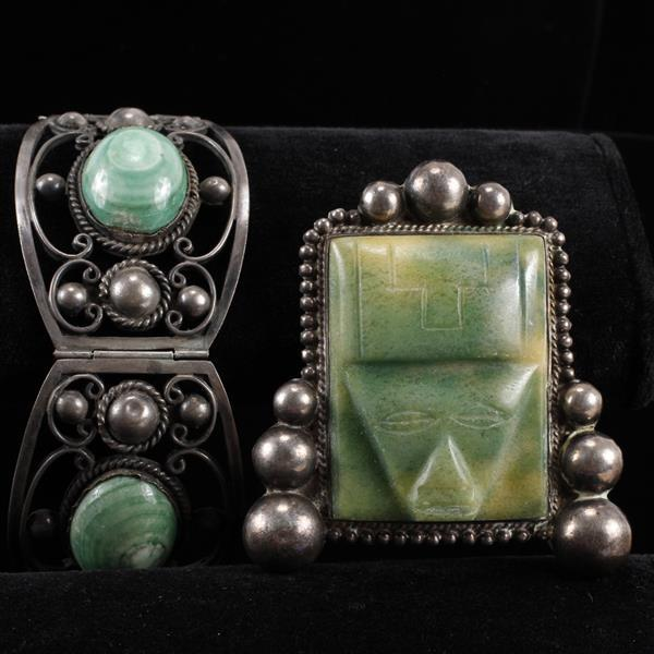 Mexican Silver 2pc.; sterling Bracelet & carved green onyx mask mounted in silver brooch pin