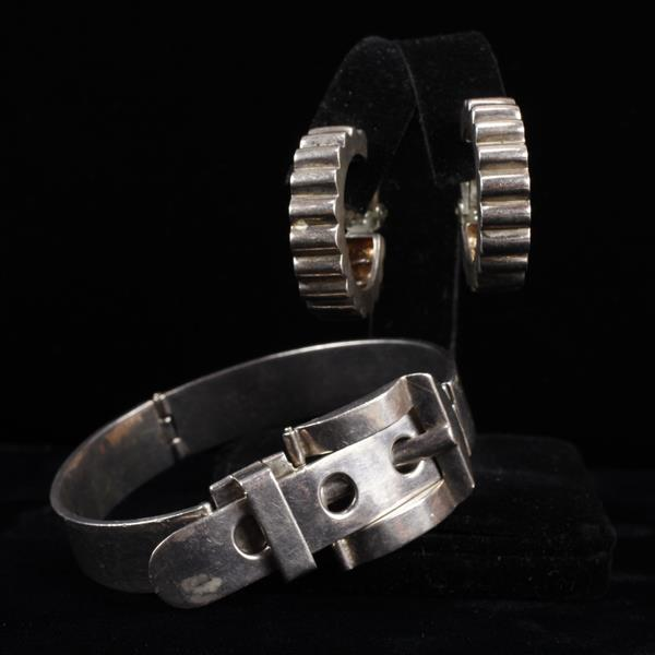 Taxco Mexico 925 Sterling Silver Modernist belt buckle hinged bracelet and clip hoop earrings marked Sterling.