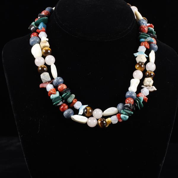 Native American beaded fetish necklace with carved and polished semi precious stones.
