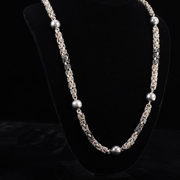 Taxco Mexico Sterling Silver multi tonal fancy chain necklace.