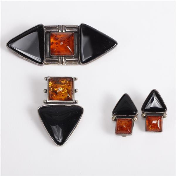 R.J. Apacheto 3pc. Modernist Jewelry Sterling Brooch Pin, Brooch/Pendant, & Clip Earrings