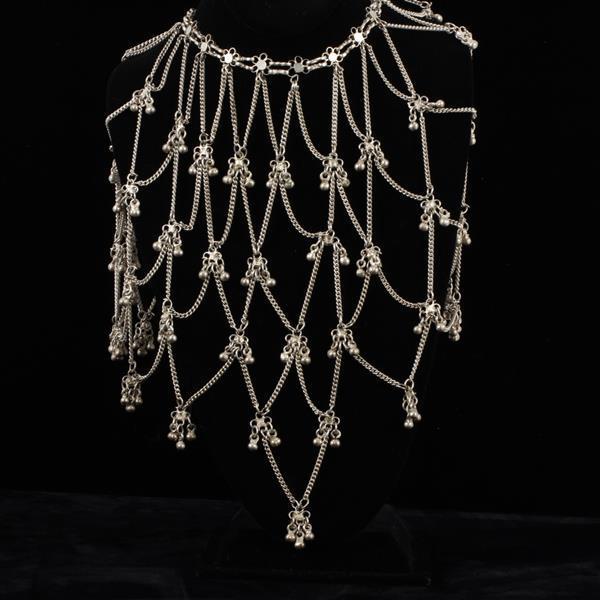 Afghan Kuchi? Tribal Bib Festoon Necklace with bell dangles; Gypsy Bohemian.