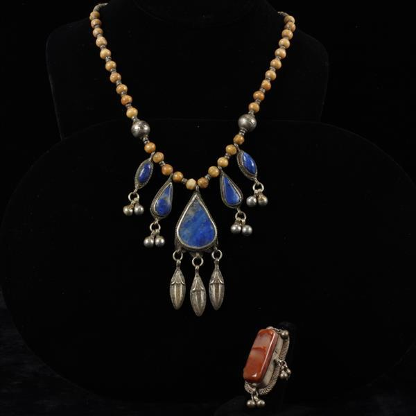 Turkmen / Afghan Tribal Agate Ring & Lapis Necklace.