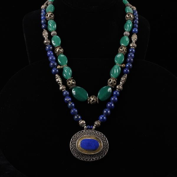 Two Middle Eastern / Turkmen Tribal Necklaces; chrysoprase & lapis.