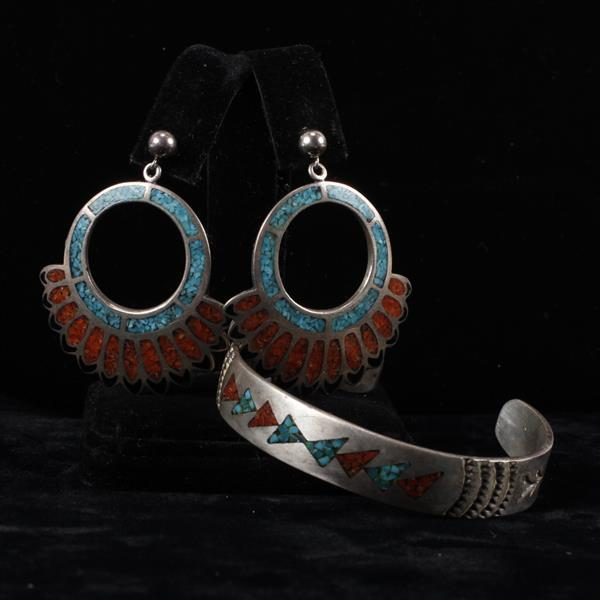 Turquoise & Coral Inlay Sterling Silver Native American Vintage Southwestern Cuff Bracelet & Earrings