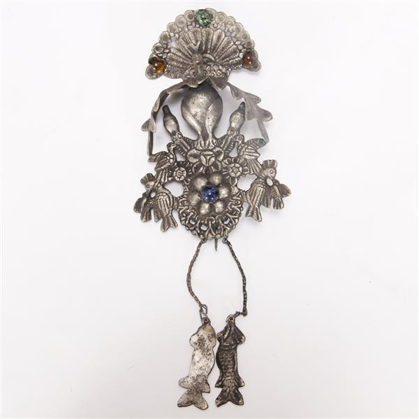 Afghan Tribal jeweled silver peacock with birds figural tribal pin ornament.