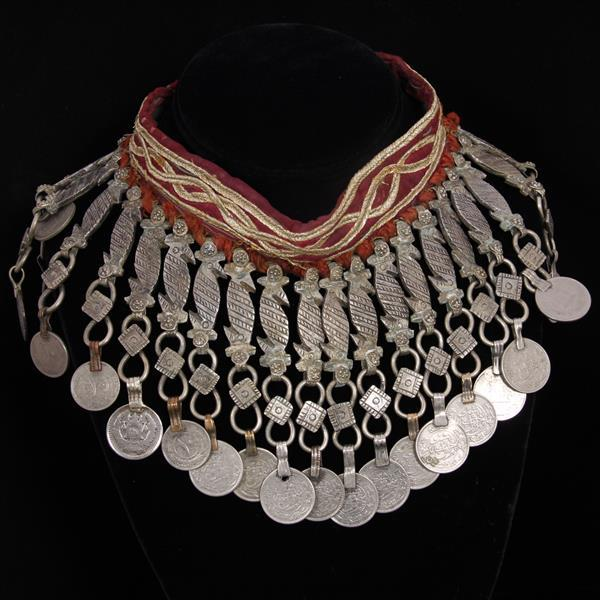 Turkoman / Turkmen Tribal Silver Coin choker necklace or armband; gypsy bohemian.