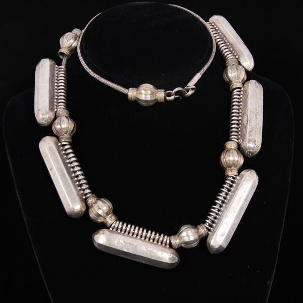 Antique South Indian Silver Taviz Amulet Necklace.
