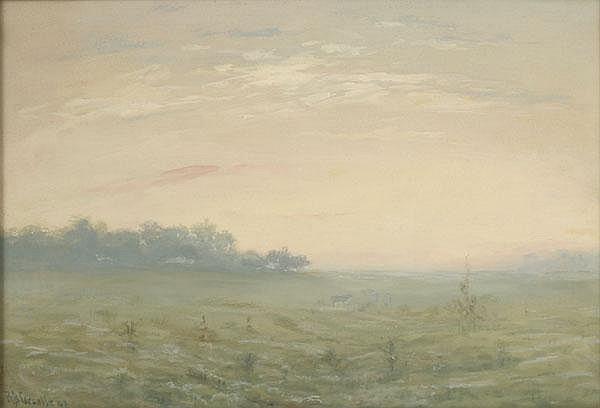 R B Gruelle Gouache Misty Landscape with Cow