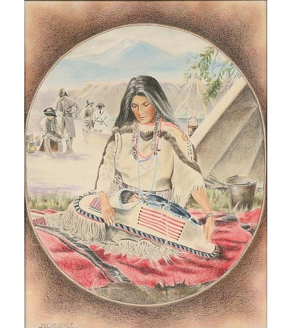 Native American Pastel Illustration signed Sch