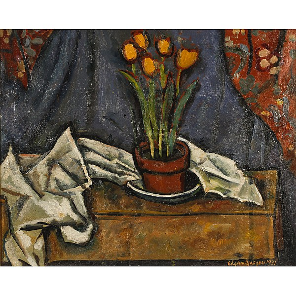 Edgar Louis Yaeger, (American; 1904 - 1997), Still Life with Tulips, Oil on canvas, 20 1/4