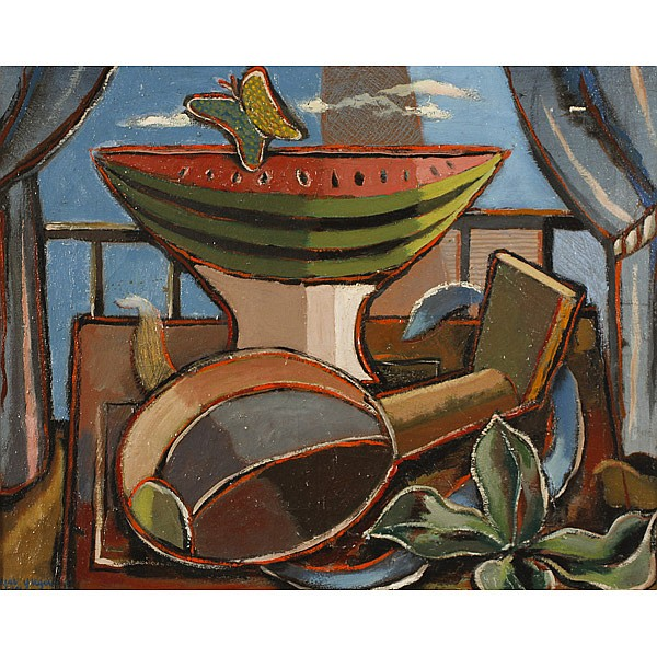 Edgar Louis Yaeger, (American; 1904 - 1997), Still Life with watermelon and butterfly, Oil on canvas, 16