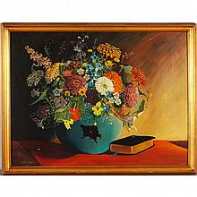 Orrin Draver, (1895 - 1964), garden floral still life, oil on board, 18
