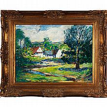Vivid impressionist spring landscape with cottage, early 20th Century.