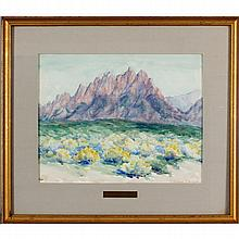Edward K. Williams, (Indiana; 1870-1950), 'Purple Mountains' landscape, watercolor on paper, 13 1/2