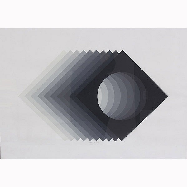 Robert Bidner, (American; 20th Century), stacked geometric op art, screenprint, 32 1/2